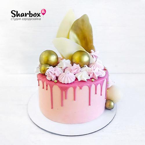 Нежно-розовый тортик с твистами