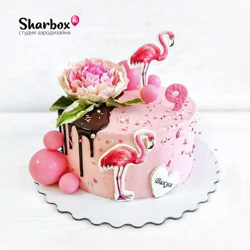 Торт с фламинго для девочки