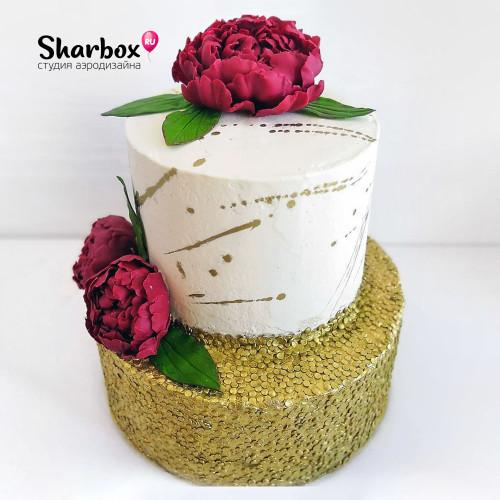 Торт Ярусный с шоколадными пионами