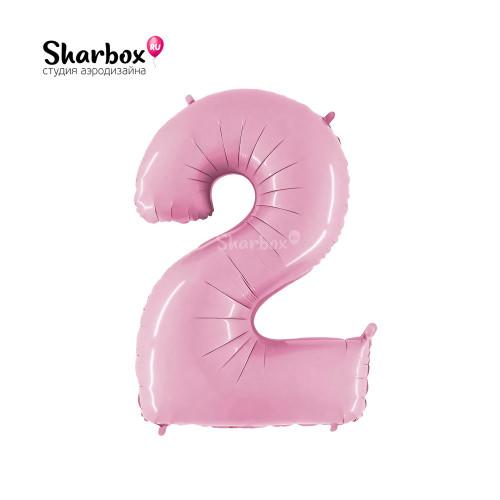 Шар цифра 2 Пастель Розовая