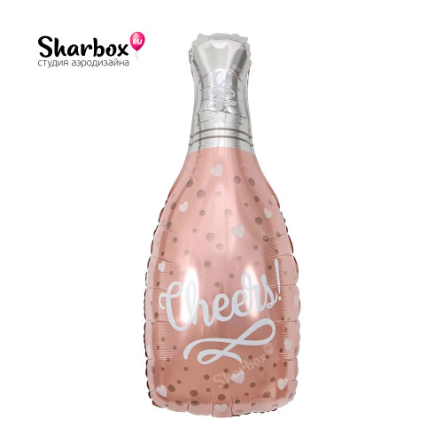 210-048 Шар фигура Бутылка шампанского Конфетти сердец